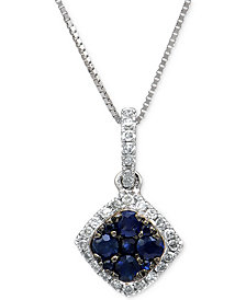 Sapphire (1/4 ct. t.w.) & Diamond (1/10 ct. t.w.) Pendant Necklace in 14k White Gold