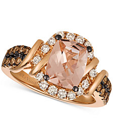Le Vian Chocolatier® Peach Morganite™ (1-1/2 ct. t.w.) & Diamond (5/8 ct. t.w.) Ring in 14k Rose Gold