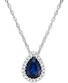 Sapphire (3/4 ct. t.w.) & Diamond Accent Pendant Necklace in 14k White Gold