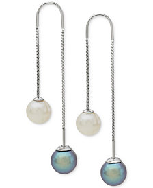 Honora Style Gray and White Cultured Freshwater Pearl (8mm) Threader Earrings in Sterling Silver (Also Available in Blush and White)