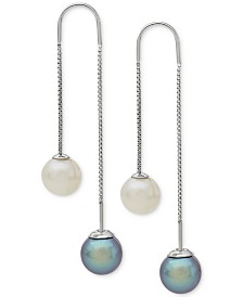 Gray and White Cultured Freshwater Pearl (8mm) Threader Earrings in Sterling Silver (Also Available in Blush and White)