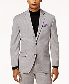 Sean John Men's Classic-Fit Stretch Gray Pinstripe Suit Jacket
