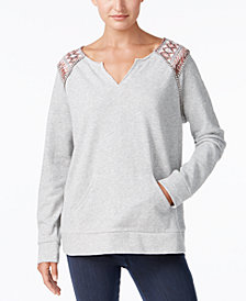 Style & Co Split-Neck Sweatshirt, Created for Macy's