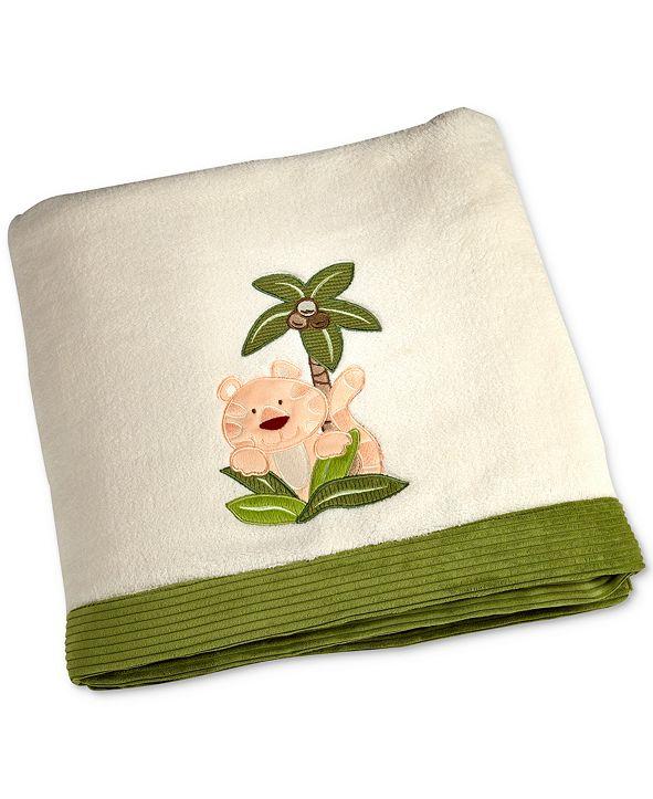 NoJo Jungle Babies Embroidered Appliqué Fleece Blanket