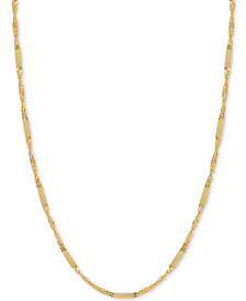 "20"" Flat Bar Singapore Chain Necklace in 14k Gold"