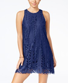 Speechless Juniors' Lace Scallop Hem Shift Dress