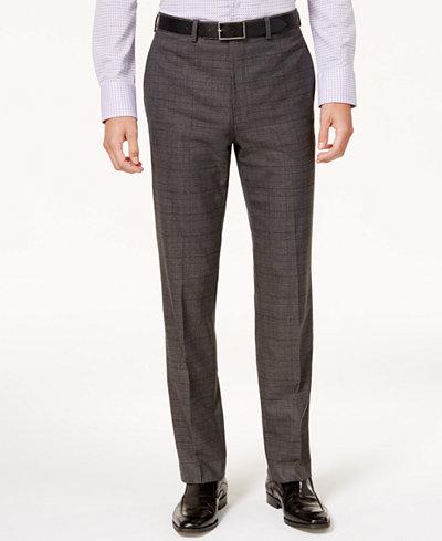 Calvin Klein Men's Slim-Fit Stretch Plaid Dress Pants ...
