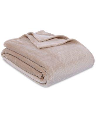 VelvetLoft Textured Grid Plush Twin Blanket