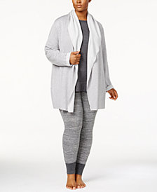 Alfani Plus Size Luxe Cozy Wrap, Tunic & Pajama Pants Sleep Separates, Created for Macy's