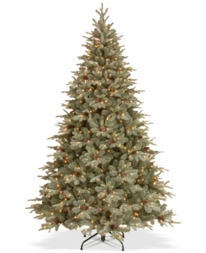 National Tree Company 75 Feel Real Frosted Artic Spruce Hinged Tree With Cones  750 Clear Lights