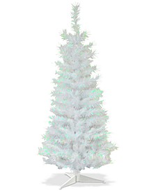 3' White Iridescent Tinsel Tree With Plastic Stand