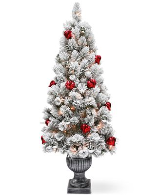 National Tree Company 5' Snowy Bristle Pine Entrance Tree With Urn Base, Ornaments & 100 Clear Lights
