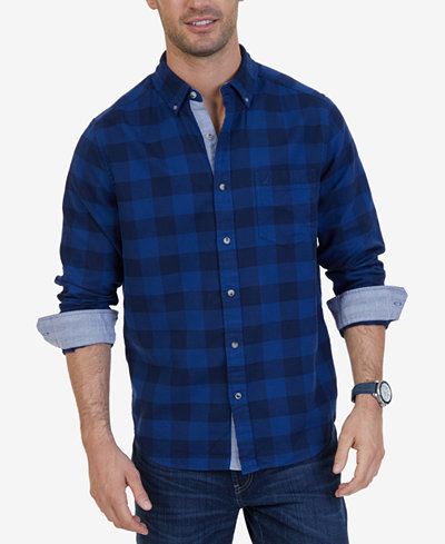 Nautica Men's Classic-Fit Buffalo Plaid Flannel Shirt - Casual ...