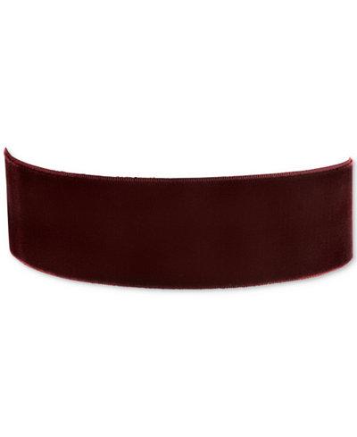 2028 Gold-Tone Burgundy Velvet Wide Choker Necklace, Created for Macy's