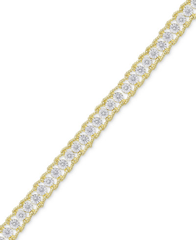 Diamond Accent Two-Tone Link Bracelet in 18k Gold-Plate and Rhodium-Plate