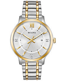 Bulova Men's Dress Diamond-Accent Two-Tone Stainless Steel Bracelet Watch 40mm, Created for Macy's