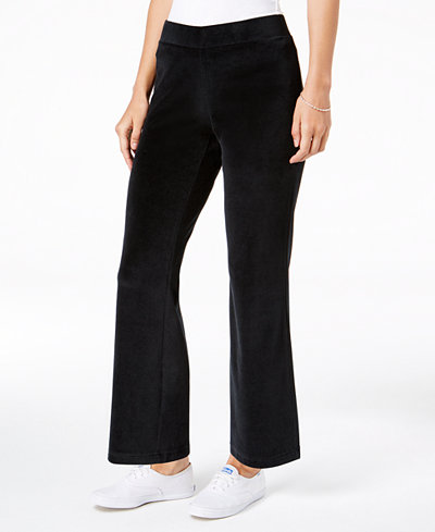 Charter Club Petite Pull-On Velour Pants, Created for Macy's