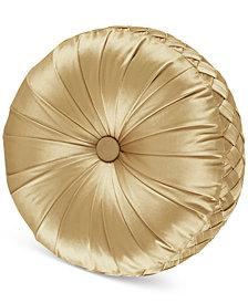 "J Queen New York Satinique Tufted 15"" x 2"" Round Decorative Pillow"