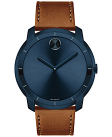 Movado Men's Swiss Bold Cognac Leather Strap Watch 44mm