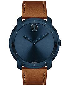 Movado Men's Swiss Bold Cognac Leather Strap Watch 44mm