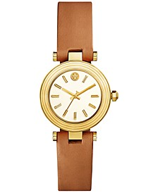 Women's Classic T Brown Leather Strap Watch 30mm