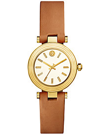Tory Burch Women's Classic T Brown Leather Strap Watch 30mm