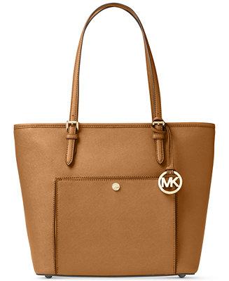 884ece2302ea Michael Kors Jet Set Item Saffiano Leather Pocket Tote & Reviews - Handbags  & Accessories - Macy's