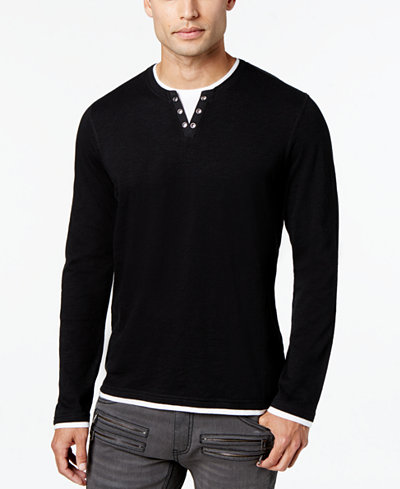 I.N.C. Men's Layered Long-Sleeve Shirt, Created for Macy's - T ...