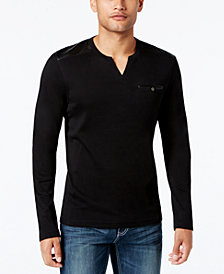 I.N.C. Men's Collude Split-Neck Shirt, Created for Macy's