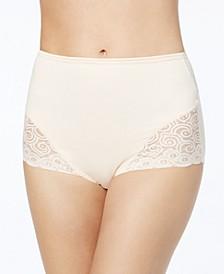 Women's  Firm Tummy-Control Lace Trim Microfiber Brief Underwear 2 Pack X054