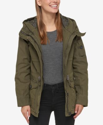 Womens military parka with hood