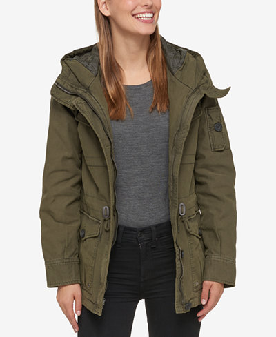 Levi's® Hooded Military Jacket - Coats - Women - Macy's