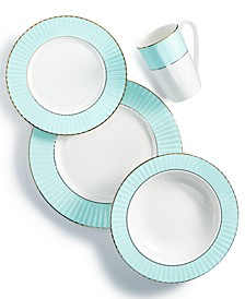 Pleated Colors Aqua Dinnerware Collection