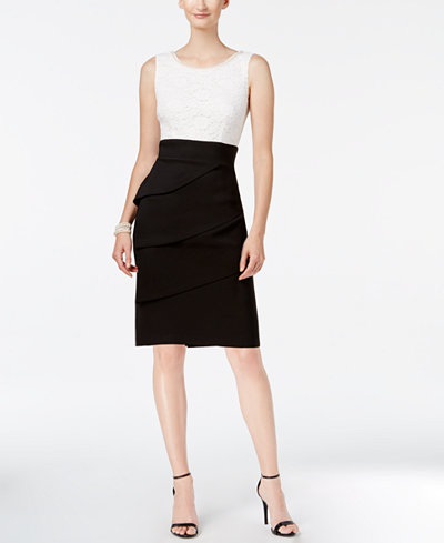 Connected Lace Colorblocked Sheath Dress