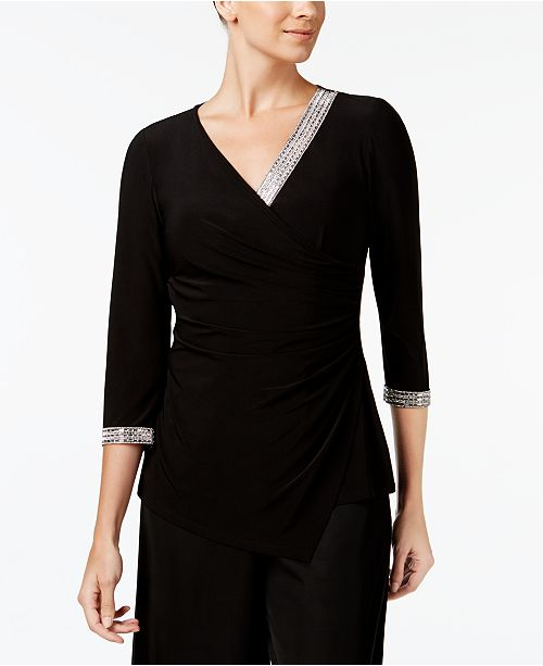 MSK Embellished Wrap Top
