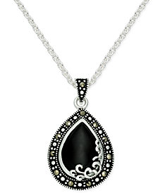 Onyx (1-1/5 ct. t.w.) & Marcasite Pendant Necklace in Fine Silver-Plate