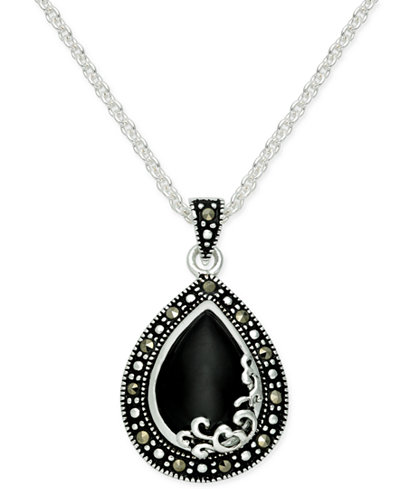Onyx 1 15 ct tw marcasite pendant necklace in fine silver tw marcasite pendant necklace in aloadofball Choice Image