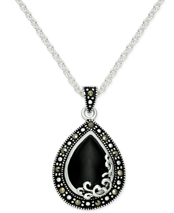 Macy's Onyx (1-1/5 ct. t.w.) & Marcasite Pendant Necklace in Fine Silver-Plate