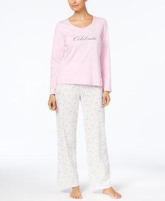 Charter Club Graphic Top Amp Printed Pants Pajama Set