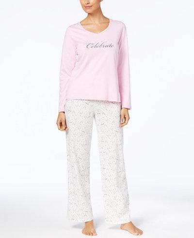 Charter Club Graphic Top & Printed Pants Pajama Set, Created for Macy's