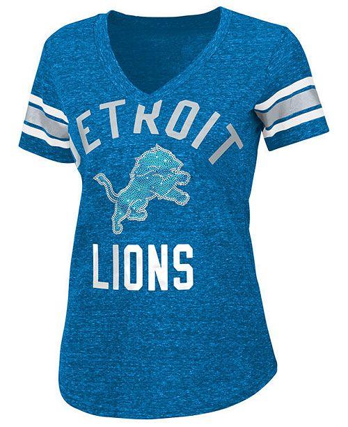 timeless design 5c590 8acef G-III Sports Women's Detroit Lions Big Game Rhinestone T ...