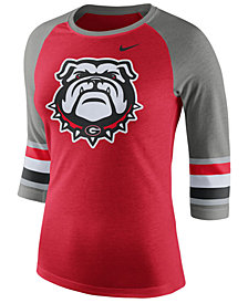 Nike Women's Georgia Bulldogs Team Stripe Logo Raglan T-Shirt
