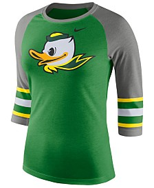 Nike Women's Oregon Ducks Team Stripe Logo Raglan T-Shirt