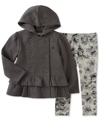 Calvin Klein 2-Pc. Hooded Jacket & Printed Leggings Set, Little Girls (4-6X)