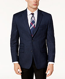 Michael Kors Men's Classic-Fit Blue & Black Plaid Sport Coat