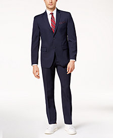 Perry Ellis Men's Slim-Fit Dark Blue Pinstripe Stretch Suit