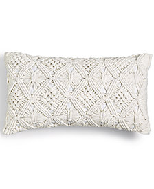 "Lucky Brand Hand Crafted Macrame Cotton 12"" x 20"" Decorative Pillow, Created for Macy's"
