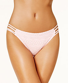 Hula Honey Juniors' Little Wild One Crochet Strappy Hipster Bikini Bottoms, Created for Macy's