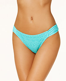 Hula Honey Juniors' Little Wild One Crochet Tab-Side Hipster Bikini Bottoms, Created for Macy's