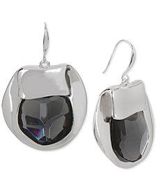 Robert Lee Morris Soho Silver-Tone Purple Stone Sculptural Drop Earrings